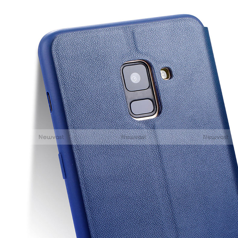 Leather Case Stands Flip Cover L02 for Samsung Galaxy A8 (2018) Duos A530F Blue