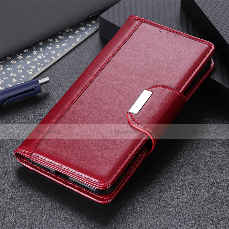 Leather Case Stands Flip Cover L02 Holder for Huawei P Smart (2020) Red Wine