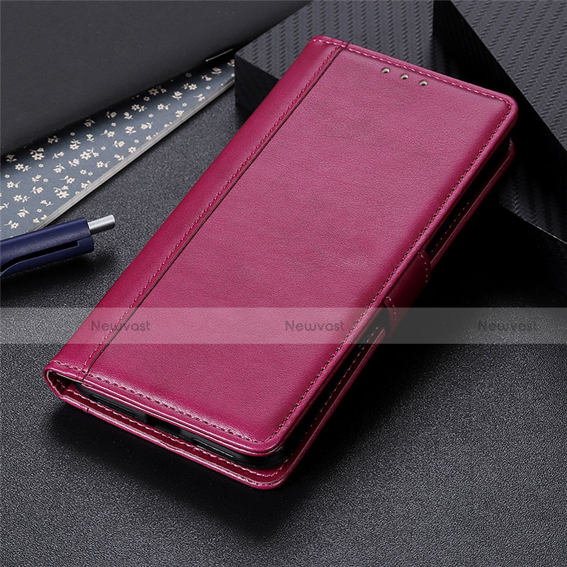 Leather Case Stands Flip Cover L02 Holder for Huawei Y8p Red Wine