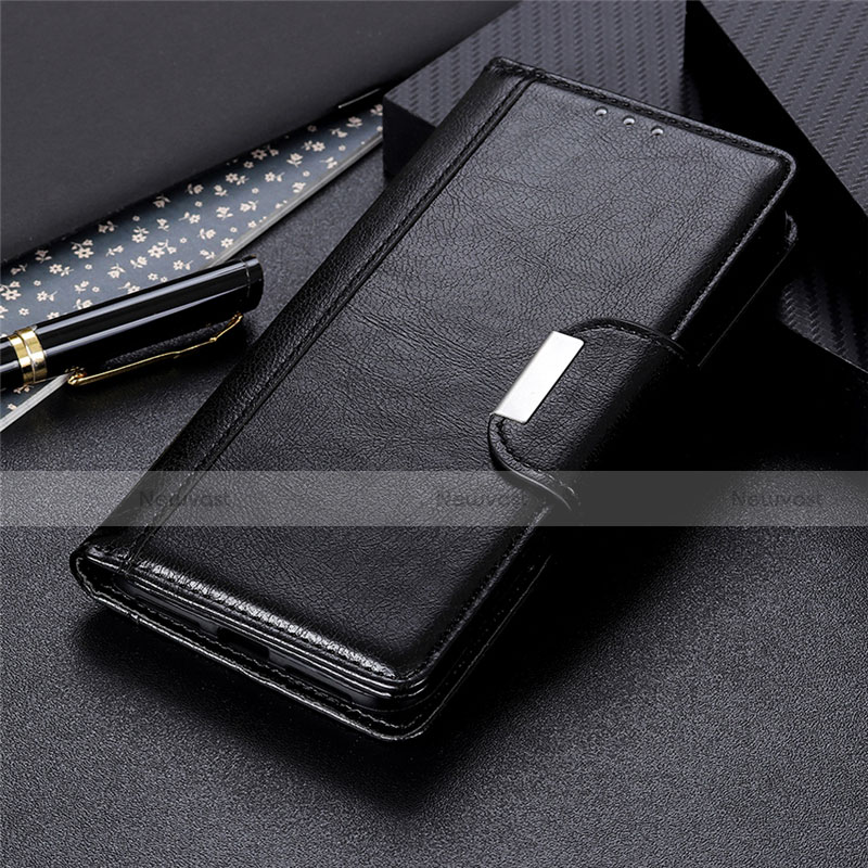 Leather Case Stands Flip Cover L02 Holder for Oppo Reno3 A Black