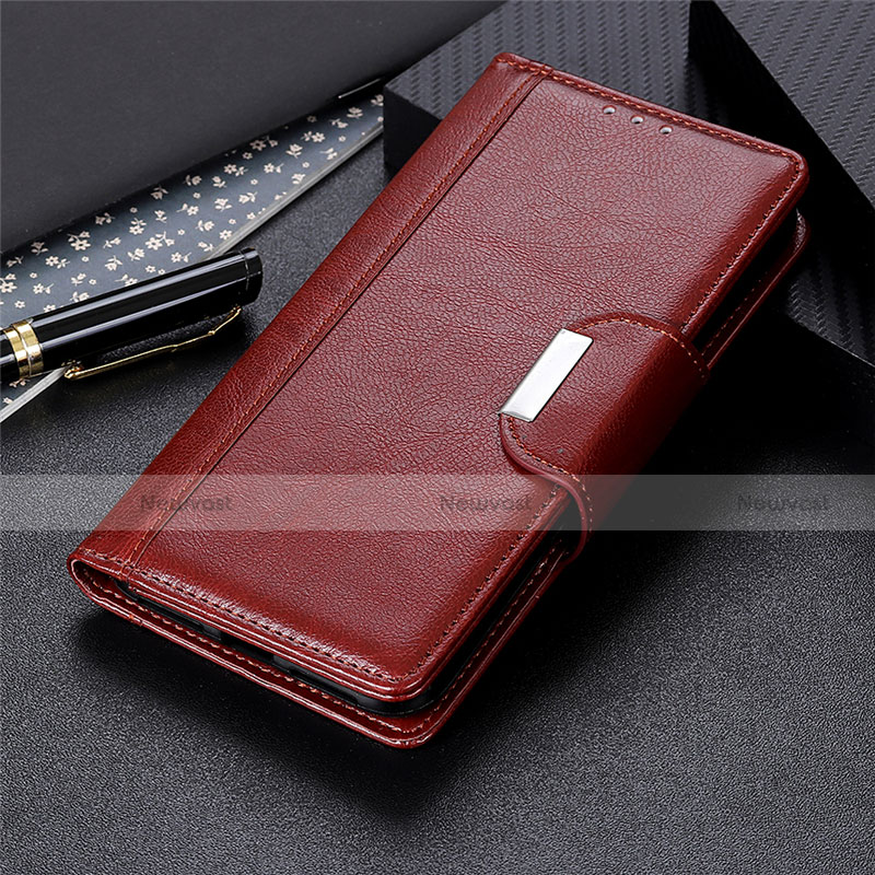 Leather Case Stands Flip Cover L02 Holder for Oppo Reno3 A Brown