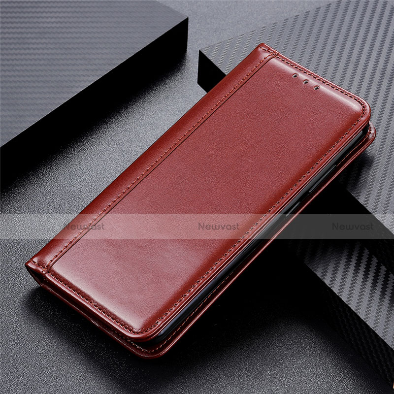Leather Case Stands Flip Cover L03 Holder for Huawei P Smart (2020) Brown