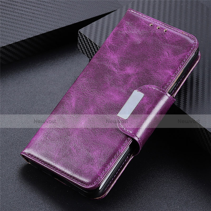 Leather Case Stands Flip Cover L03 Holder for Huawei Y8p Purple
