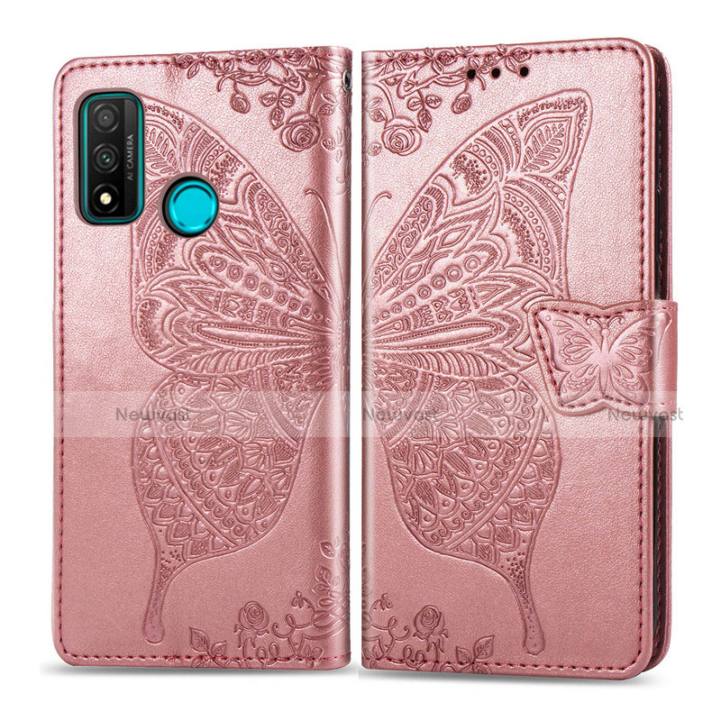 Leather Case Stands Flip Cover L04 Holder for Huawei P Smart (2020) Rose Gold
