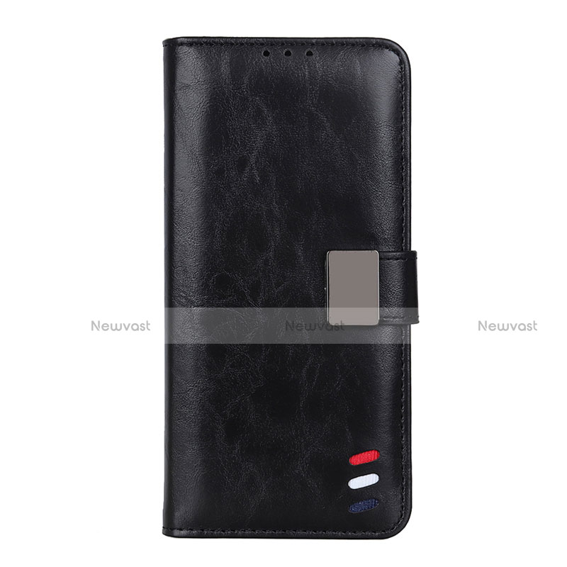 Leather Case Stands Flip Cover L04 Holder for Motorola Moto G9 Plus Black