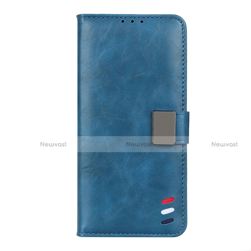 Leather Case Stands Flip Cover L04 Holder for Motorola Moto G9 Plus Blue