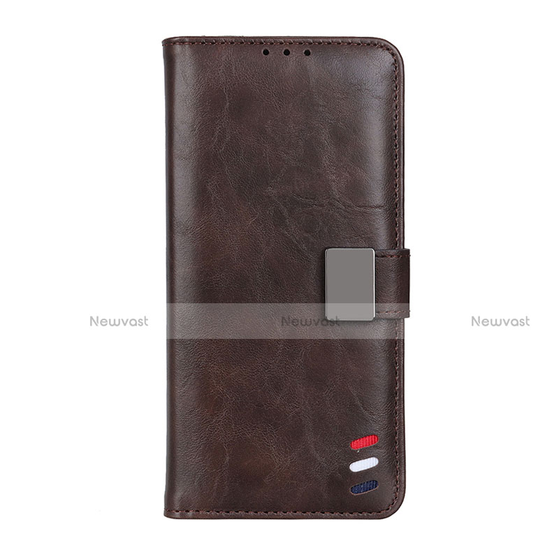 Leather Case Stands Flip Cover L04 Holder for Motorola Moto G9 Plus Brown