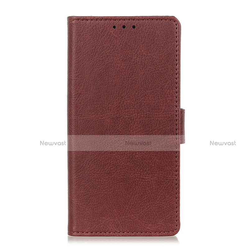 Leather Case Stands Flip Cover L04 Holder for Oppo Reno3 A Brown