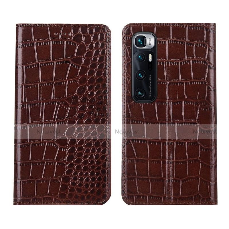 Leather Case Stands Flip Cover L04 Holder for Xiaomi Mi 10 Ultra Brown