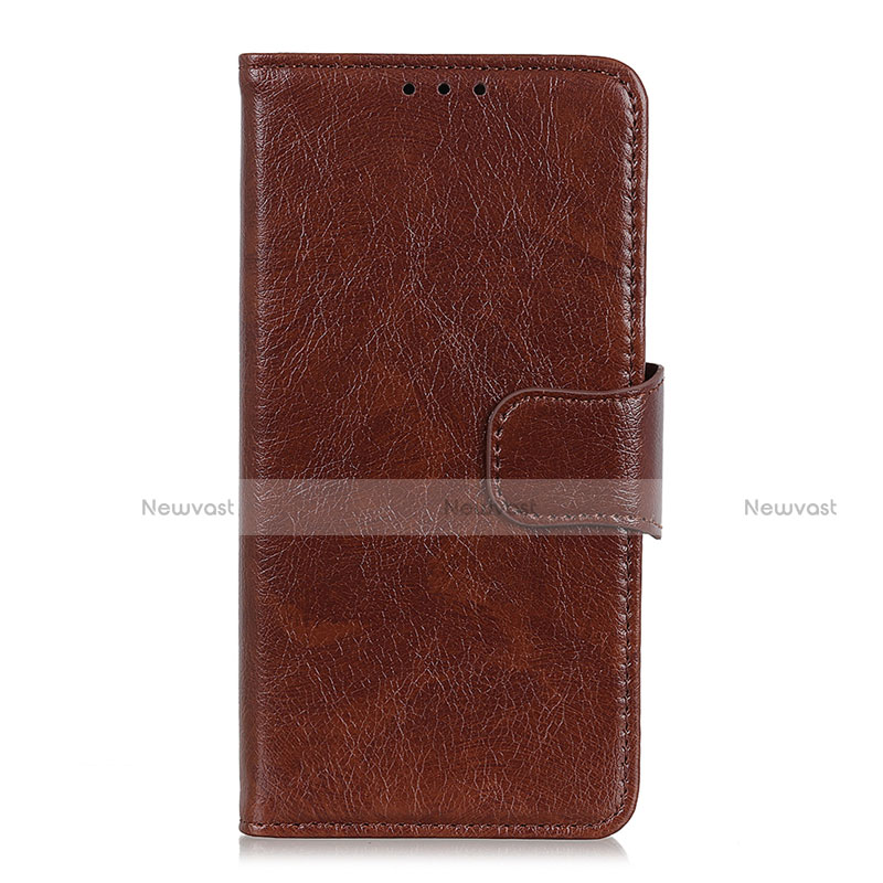 Leather Case Stands Flip Cover L05 Holder for Huawei Enjoy 10S Brown