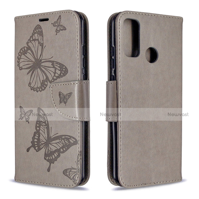 Leather Case Stands Flip Cover L05 Holder for Huawei P Smart (2020) Gray
