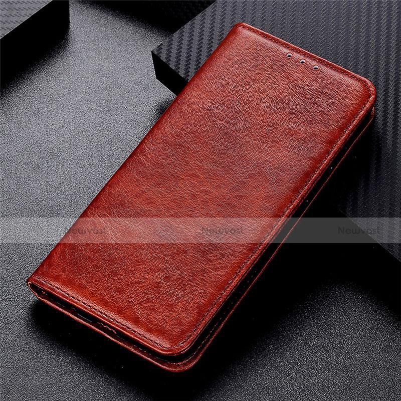 Leather Case Stands Flip Cover L05 Holder for Motorola Moto G9 Plus Brown