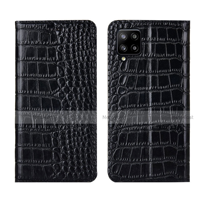Leather Case Stands Flip Cover L05 Holder for Samsung Galaxy A42 5G Black