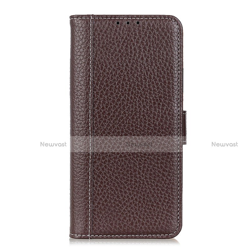Leather Case Stands Flip Cover L06 Holder for Huawei P Smart (2020) Brown