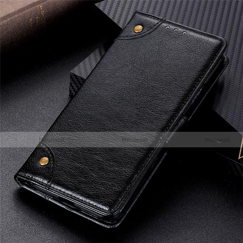 Leather Case Stands Flip Cover L06 Holder for Motorola Moto G9 Plus Black