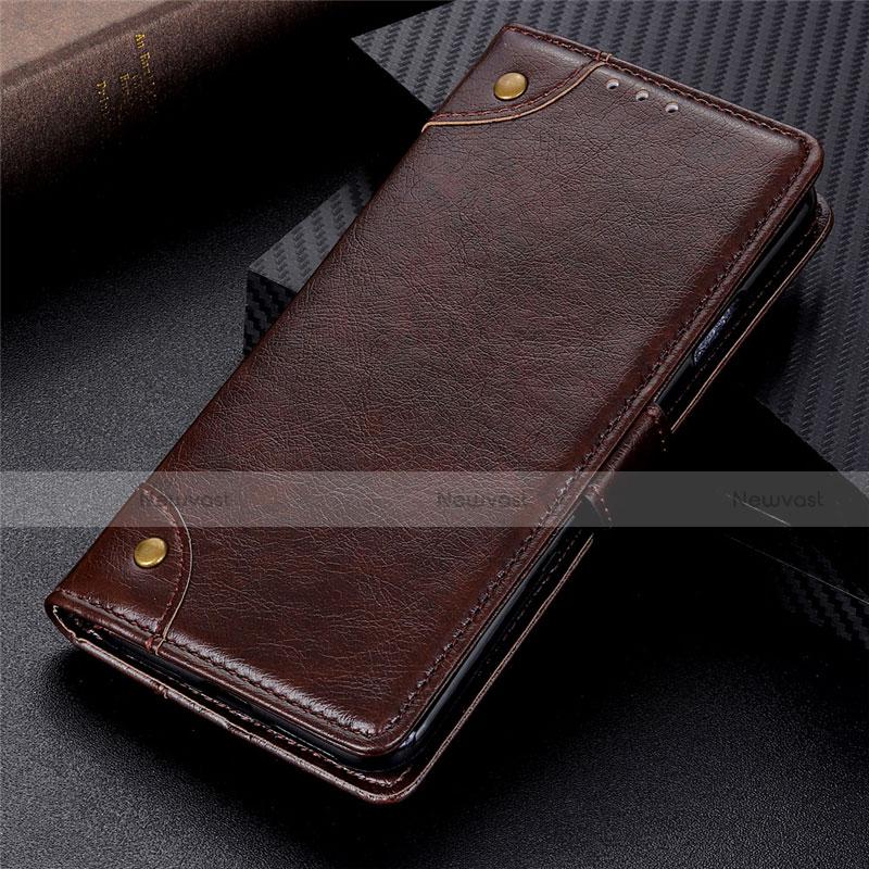 Leather Case Stands Flip Cover L06 Holder for Motorola Moto G9 Plus Brown