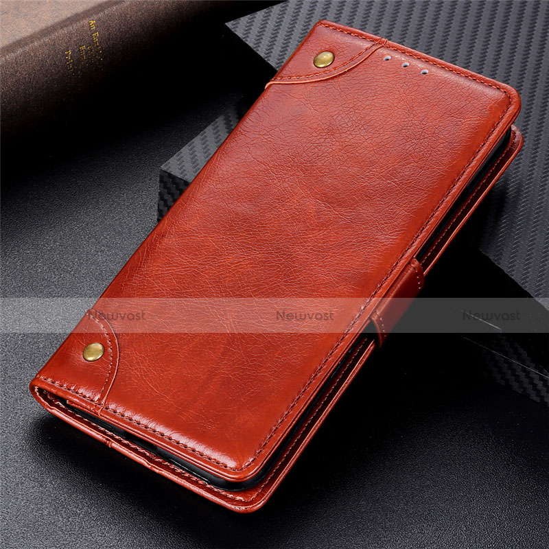 Leather Case Stands Flip Cover L06 Holder for Motorola Moto G9 Plus Light Brown