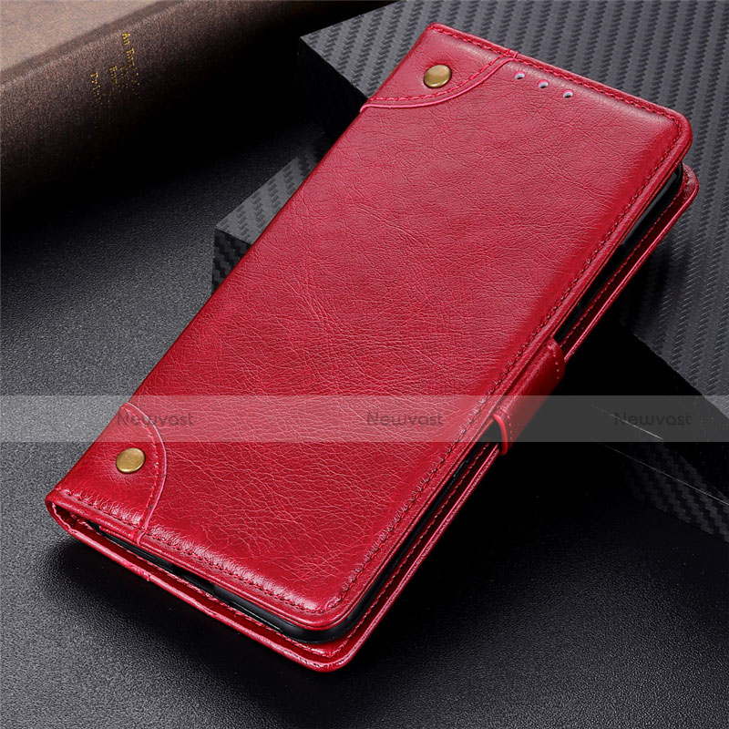 Leather Case Stands Flip Cover L06 Holder for Motorola Moto G9 Plus Red