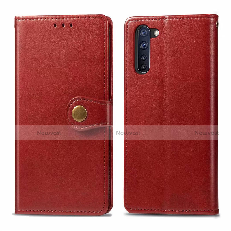 Leather Case Stands Flip Cover L06 Holder for Oppo Reno3 A Red