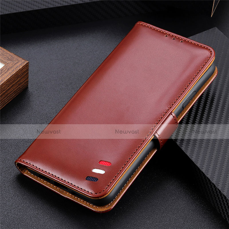 Leather Case Stands Flip Cover L07 Holder for Huawei Enjoy 10S Brown
