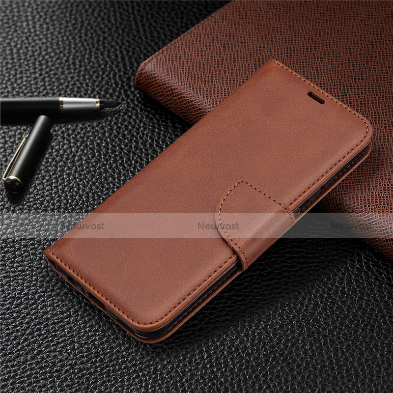 Leather Case Stands Flip Cover L07 Holder for Huawei P Smart (2020) Brown