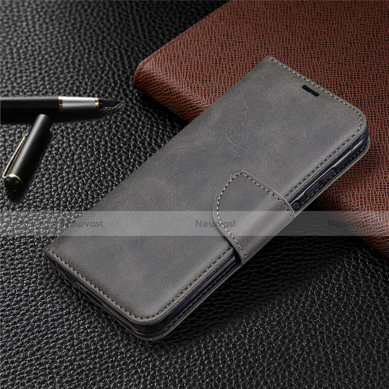 Leather Case Stands Flip Cover L07 Holder for Huawei P Smart (2020) Gray