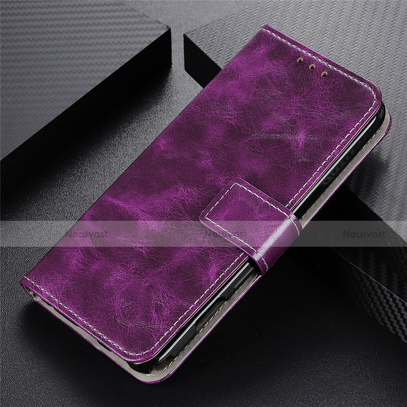 Leather Case Stands Flip Cover L07 Holder for Motorola Moto G9 Plus Purple