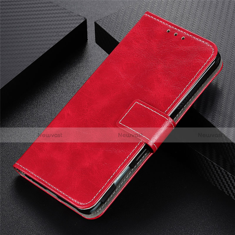 Leather Case Stands Flip Cover L07 Holder for Motorola Moto G9 Plus Red