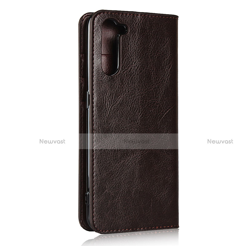 Leather Case Stands Flip Cover L07 Holder for Oppo Reno3 A Brown