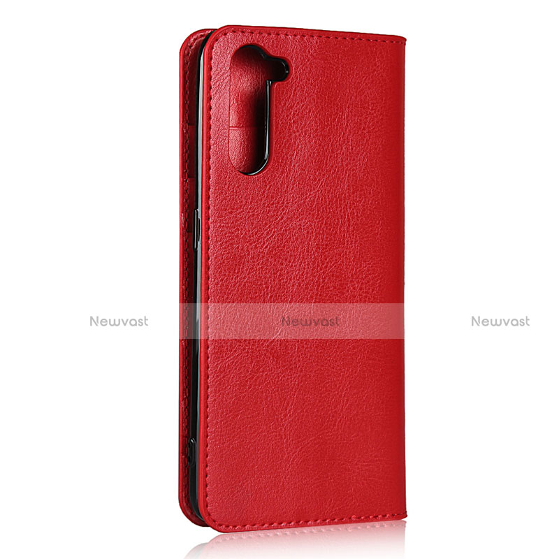 Leather Case Stands Flip Cover L07 Holder for Oppo Reno3 A Red