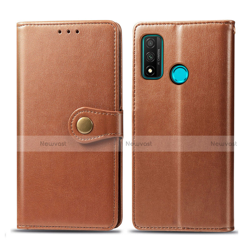 Leather Case Stands Flip Cover L08 Holder for Huawei P Smart (2020) Brown