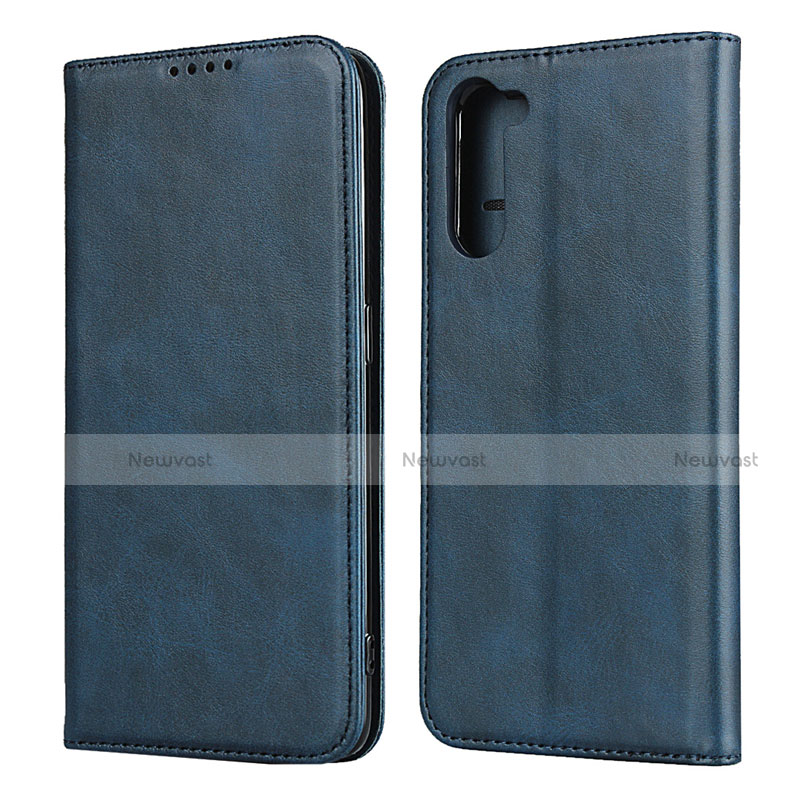 Leather Case Stands Flip Cover L08 Holder for Oppo Reno3 A Blue