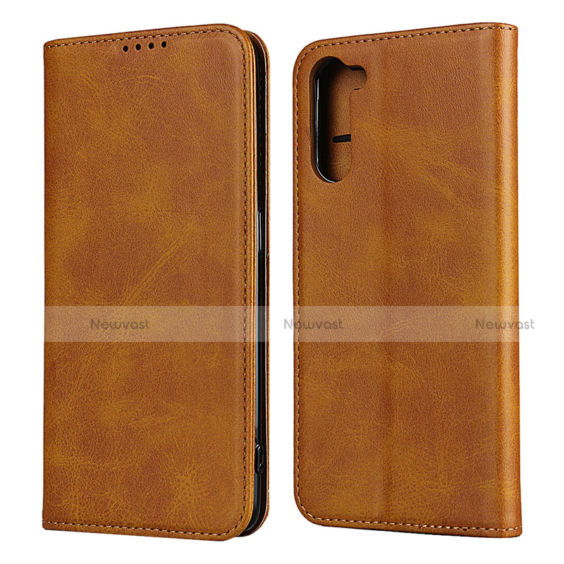 Leather Case Stands Flip Cover L08 Holder for Oppo Reno3 A Light Brown