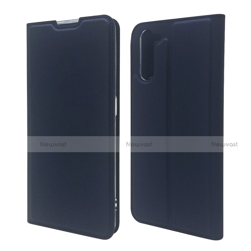Leather Case Stands Flip Cover L09 Holder for Oppo Reno3 A Navy Blue