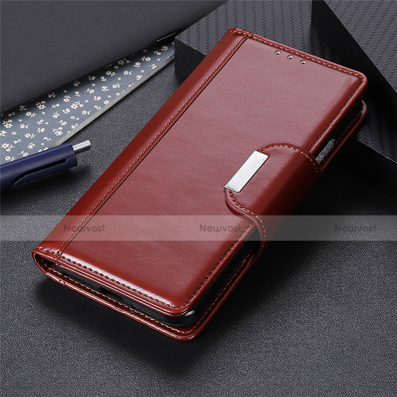 Leather Case Stands Flip Cover L10 Holder for Oppo Reno3 A Brown