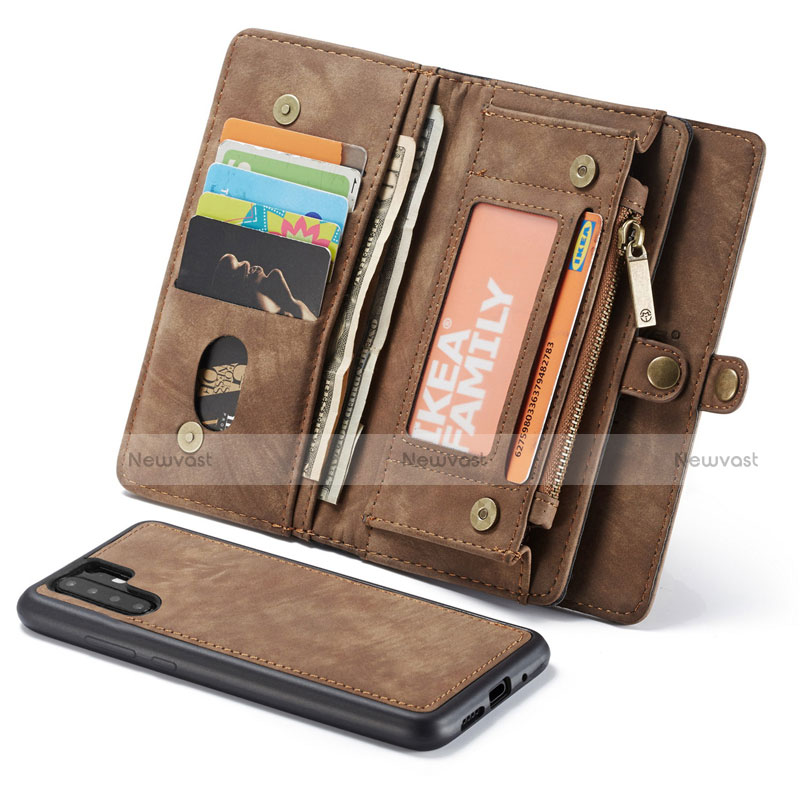 Leather Case Stands Flip Cover T03 Holder for Huawei P30 Pro Brown