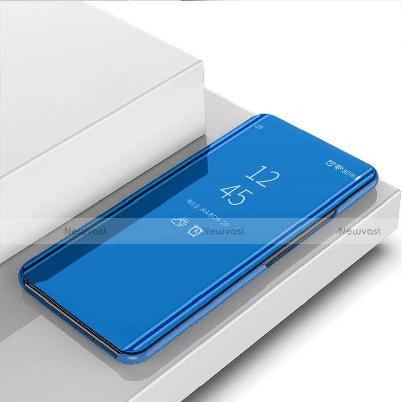 Leather Case Stands Flip Mirror Cover Holder for Huawei Enjoy 10S Blue