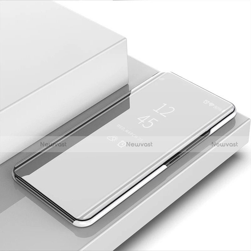 Leather Case Stands Flip Mirror Cover Holder for Huawei Enjoy 10S Silver