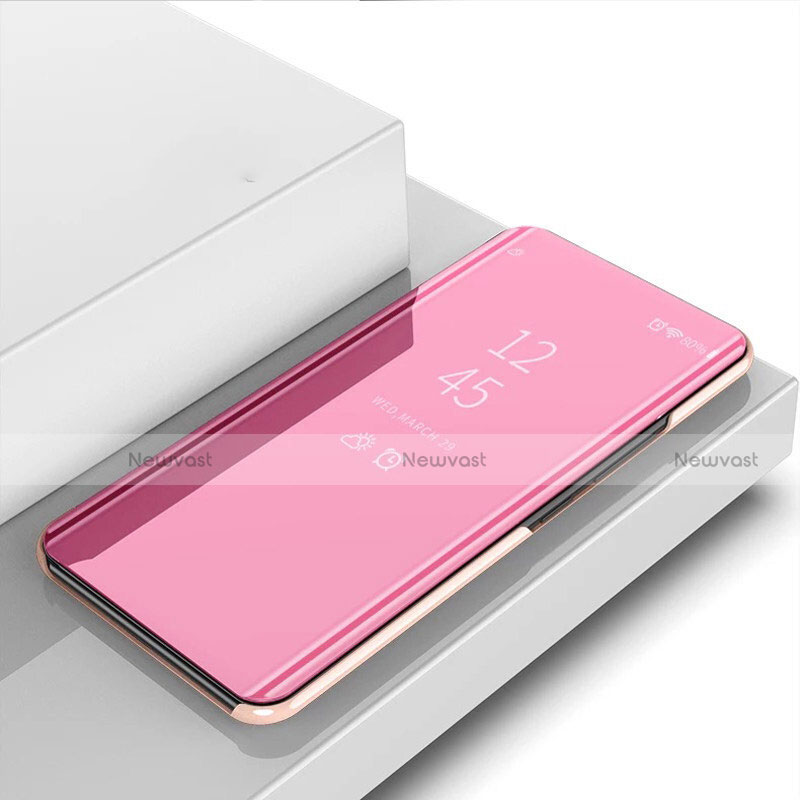 Leather Case Stands Flip Mirror Cover Holder for Huawei P Smart (2020) Rose Gold