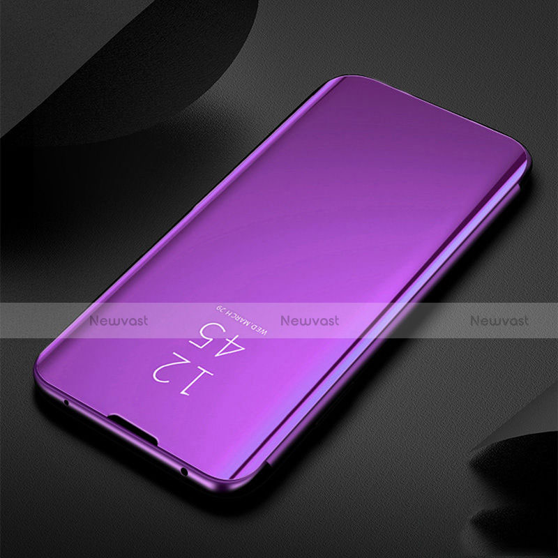 Leather Case Stands Flip Mirror Cover Holder for Xiaomi Redmi Note 8 Hot Pink