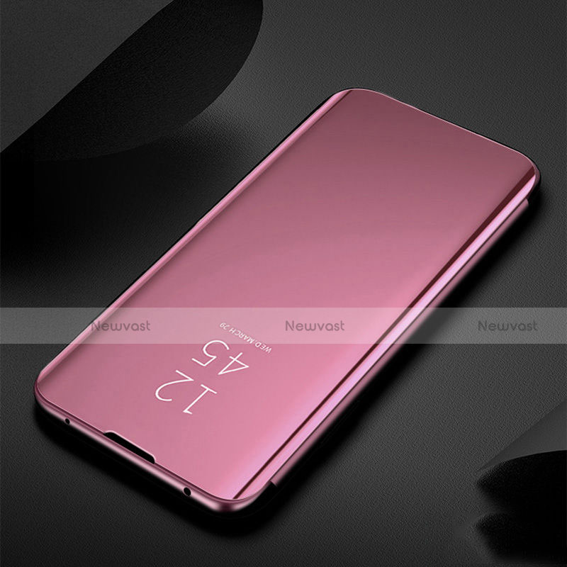 Leather Case Stands Flip Mirror Cover Holder for Xiaomi Redmi Note 8 Rose Gold
