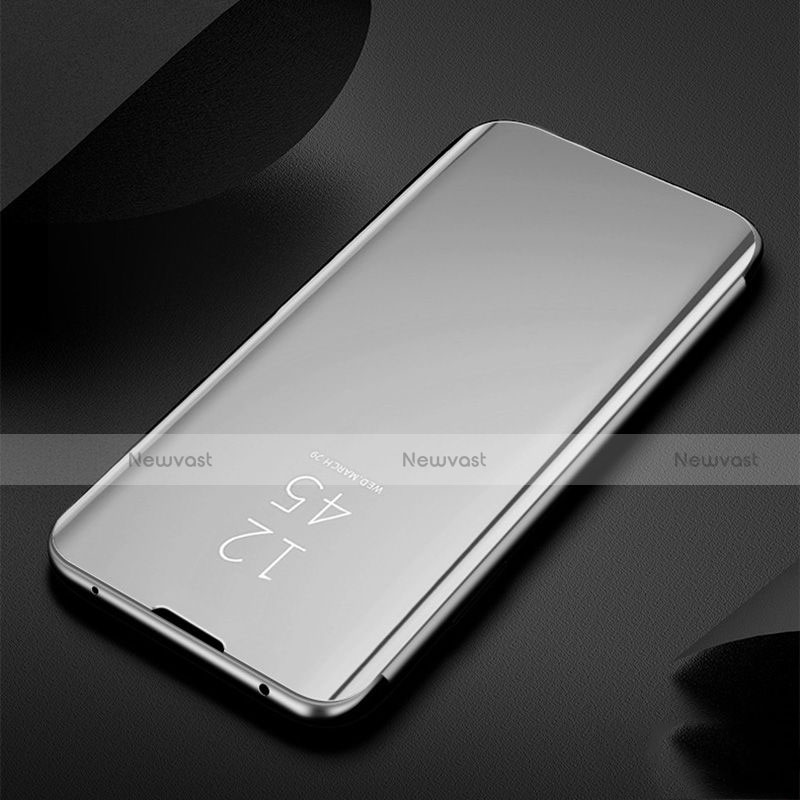 Leather Case Stands Flip Mirror Cover Holder for Xiaomi Redmi Note 8 Silver