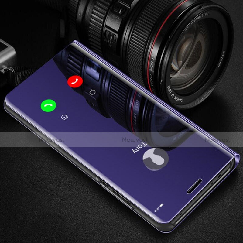 Leather Case Stands Flip Mirror Cover Holder L02 for Huawei Enjoy 10S Purple
