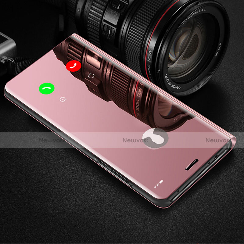 Leather Case Stands Flip Mirror Cover Holder L02 for Huawei Enjoy 10S Rose Gold