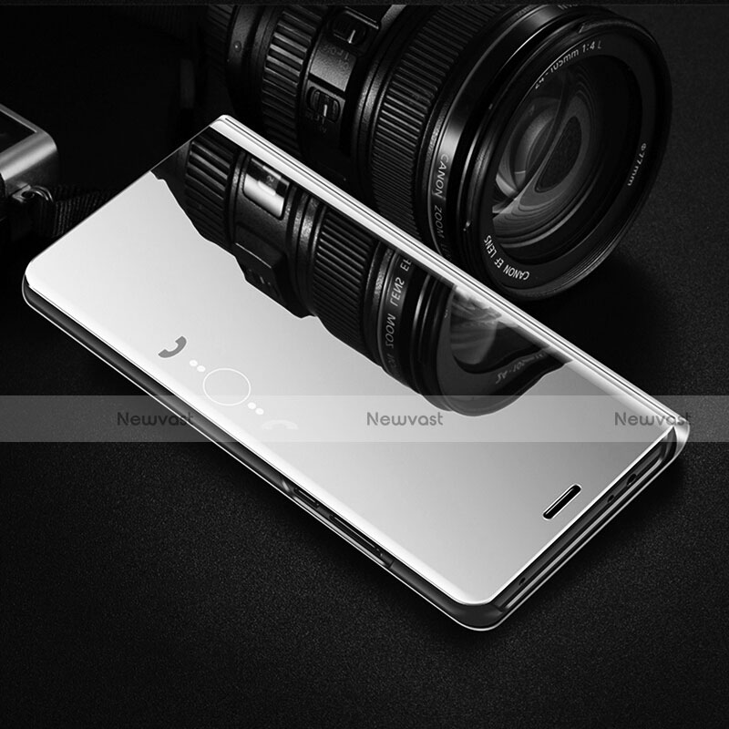 Leather Case Stands Flip Mirror Cover Holder L02 for Huawei Enjoy 10S Silver