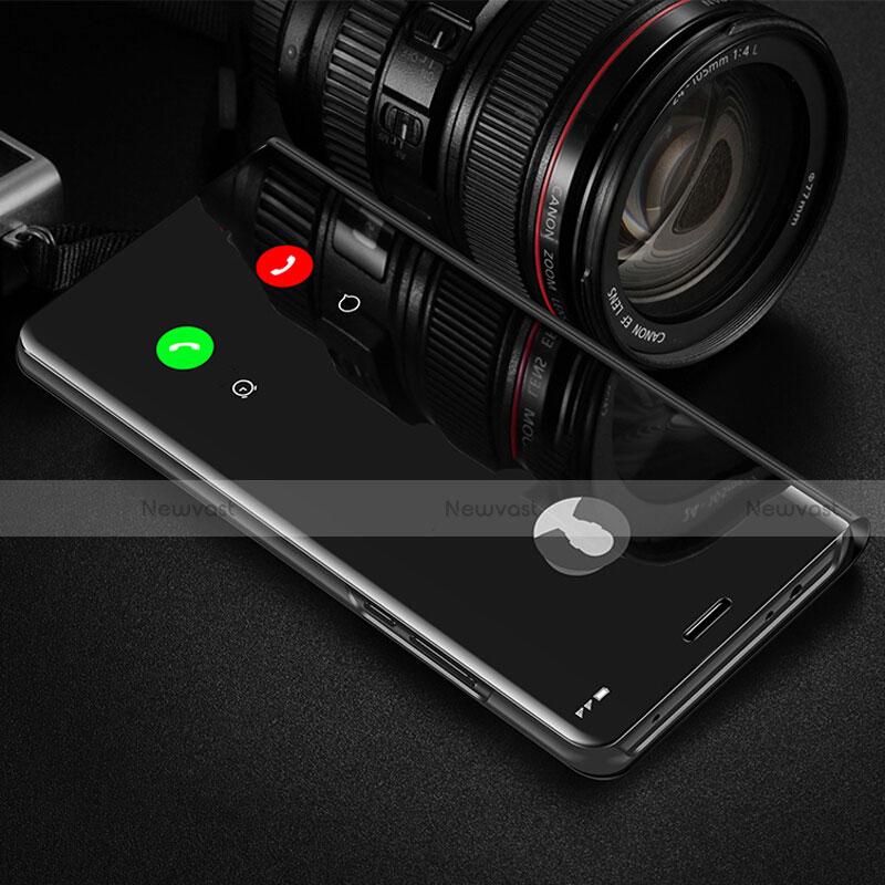 Leather Case Stands Flip Mirror Cover Holder L02 for Xiaomi Redmi K30 5G Black