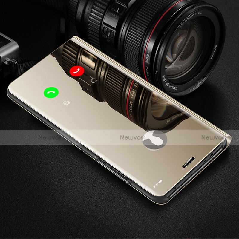 Leather Case Stands Flip Mirror Cover Holder L02 for Xiaomi Redmi K30 5G Gold