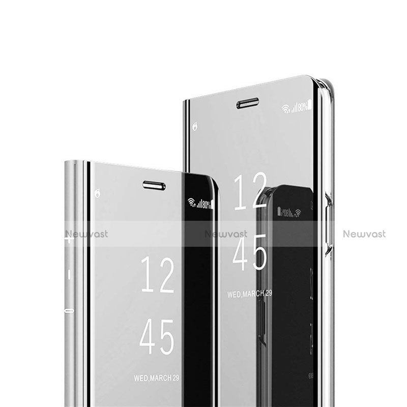Leather Case Stands Flip Mirror Cover Holder L03 for Huawei Enjoy 10S Silver