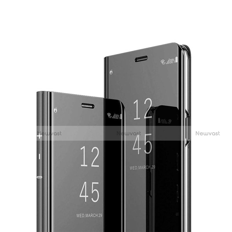 Leather Case Stands Flip Mirror Cover Holder L03 for Huawei P Smart (2020) Black