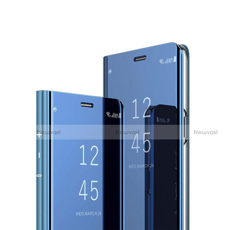 Leather Case Stands Flip Mirror Cover Holder L03 for Huawei P Smart (2020) Blue